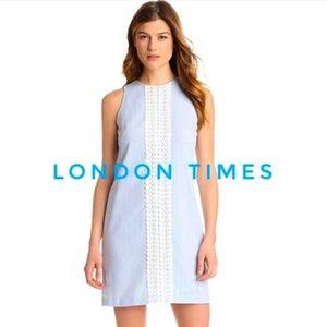 London Times Seersucker Eyelet Lace Shift Dress